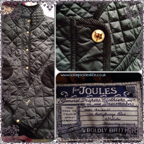 joules black quilted jacket