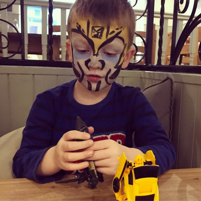 Pickle had his face painted for childreninneed at school 90hellip